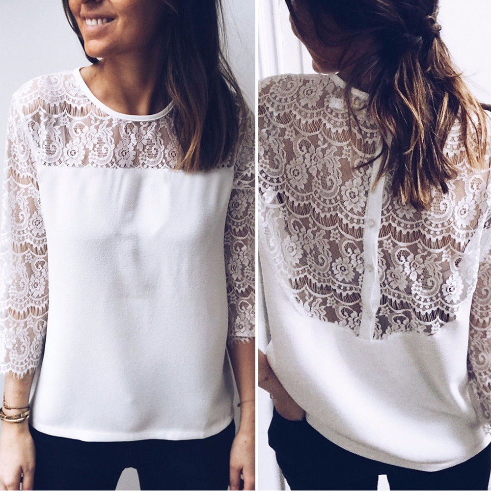 1ce9b586fb70 Women Summer Lace Mesh top Long Sleeve Loose Tee Shirt femme Fashion Ladies  Summer Casual top Elegant Boho Beach White Blouse