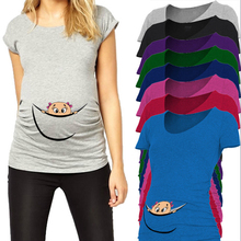 Funny maternity tops cotton baby peeking out t shirts for pregnant women o-neck tees summer pregnancy clothes maternity clothing