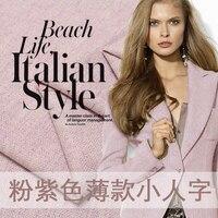 Wool Fabric Winter Herringbone Woman Overcoat Fabrics The Cloth Purple Pink Pattern Thin Woolen Suit