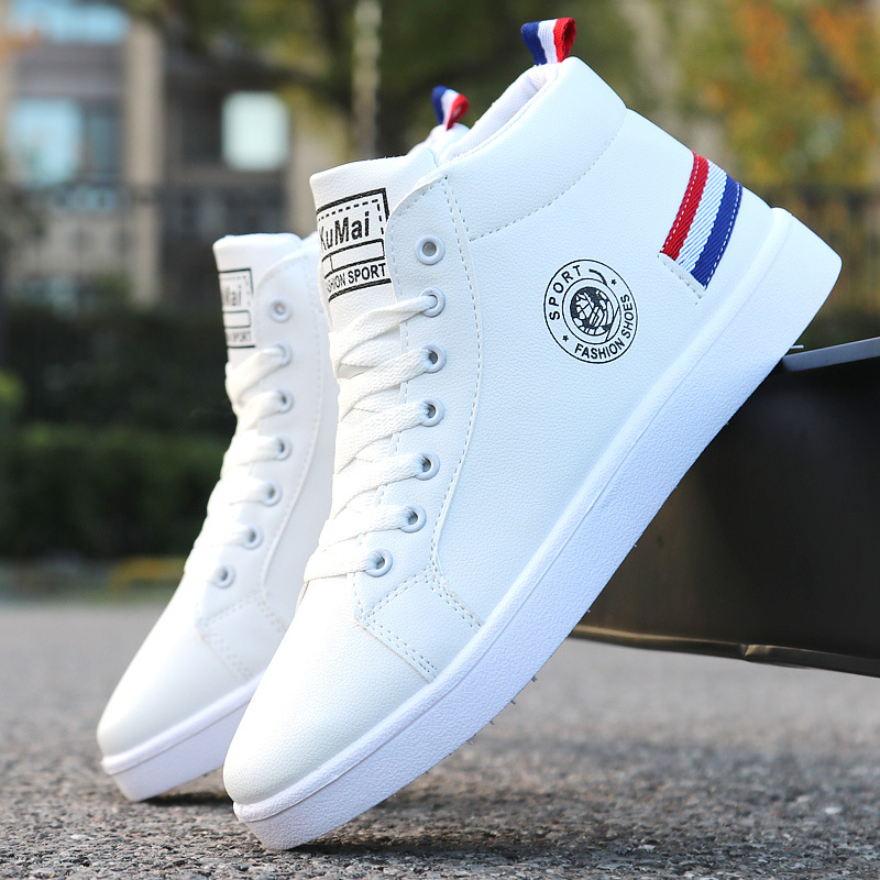 2019 Spring Autumn White High-top Shoes Men Boots Men Casual Shoes Fashion Lace-up Waterproof Leather Ankle Boots