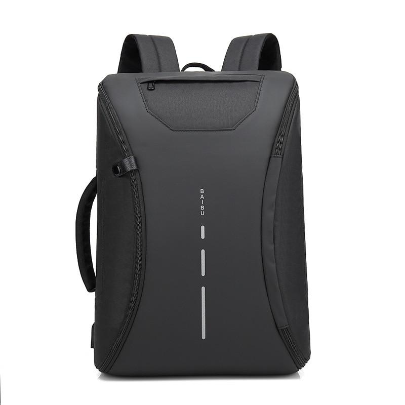 BAIBU Multifunction Men Backpack Fashion Casual Student School Bag External USB Charge Laptop Backpack Waterproof Travel