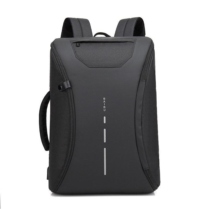 BAIBU multifonction hommes sac à dos décontracté étudiant sac d'école externe USB Charge sac à dos pour ordinateur portable étanche voyage Mochila