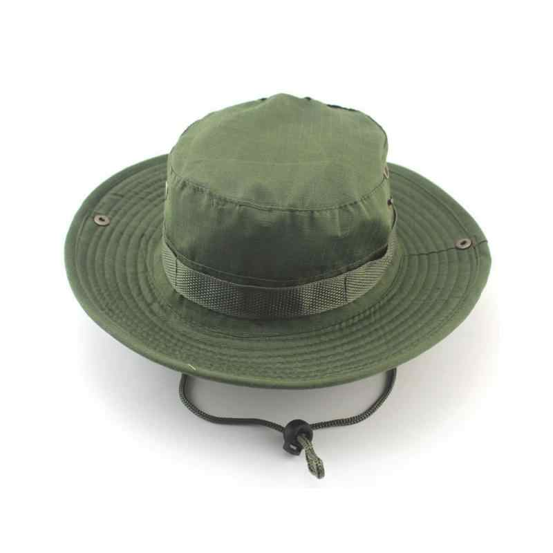 900fc283a60b7 ... Men Women Sports Boonie Washed Cotton Twill Chin Cord Military Camouflage  Hunting Hat Travel Sun Cap ...