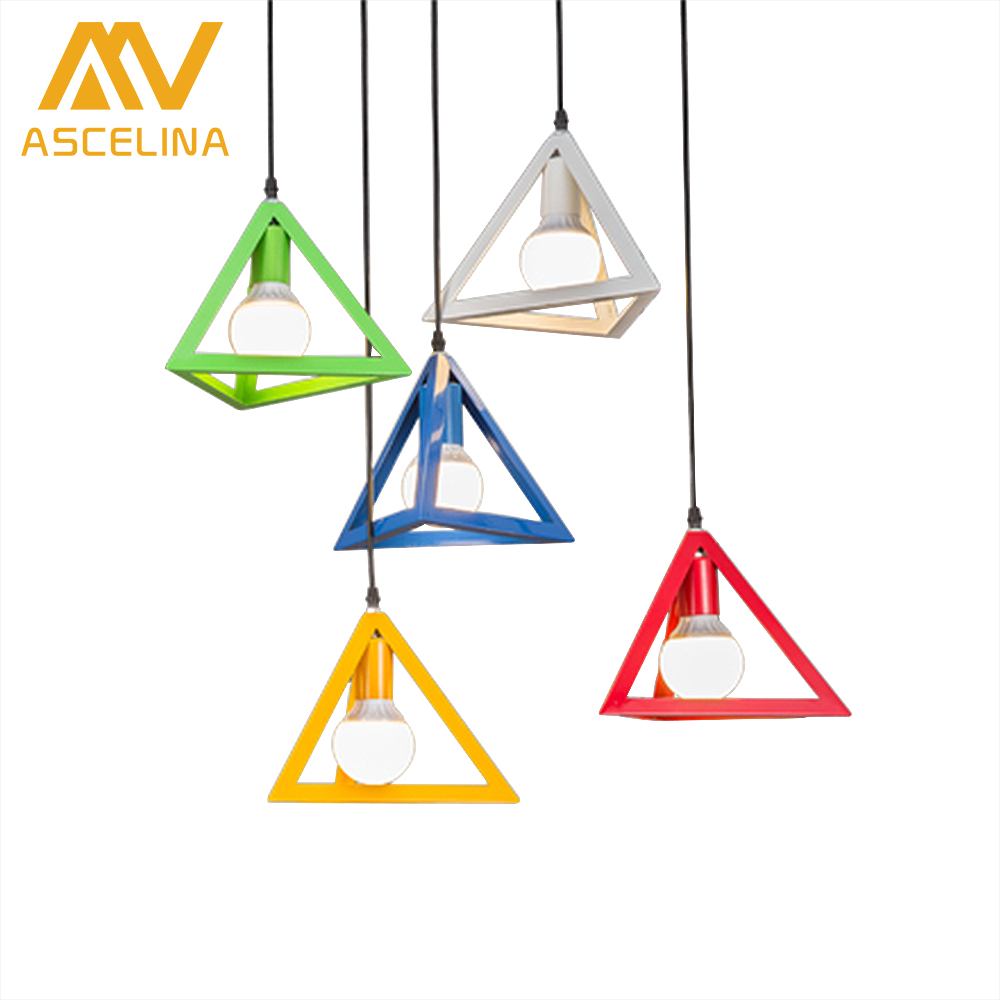 ASCELINA Nordic pendant lights Retro loft LED Lamps with Triangle lamp shade light fixture for home kitchen lighting E27 85-260V купить