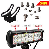 9.5Inch 54W Car LED Work Light Bar Spot/Flood Combo Beam IP67 Waterproof Off Road Light for Jeep Truck Car ATV SUV Boat