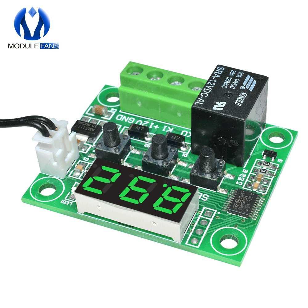 W1209 DC 12V Merah Biru Hijau Putih LED Digital Thermostat Suhu Kontrol Thermometer Switch Modul + NTC Sensor Tahan Air