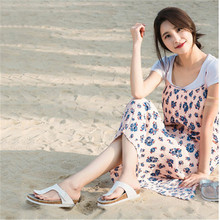 WADNASO  2019 Fashion Women Cork Slippers Solid Color Slip on Slides Shoe New Summer Woman Beach Flip Flops White Black