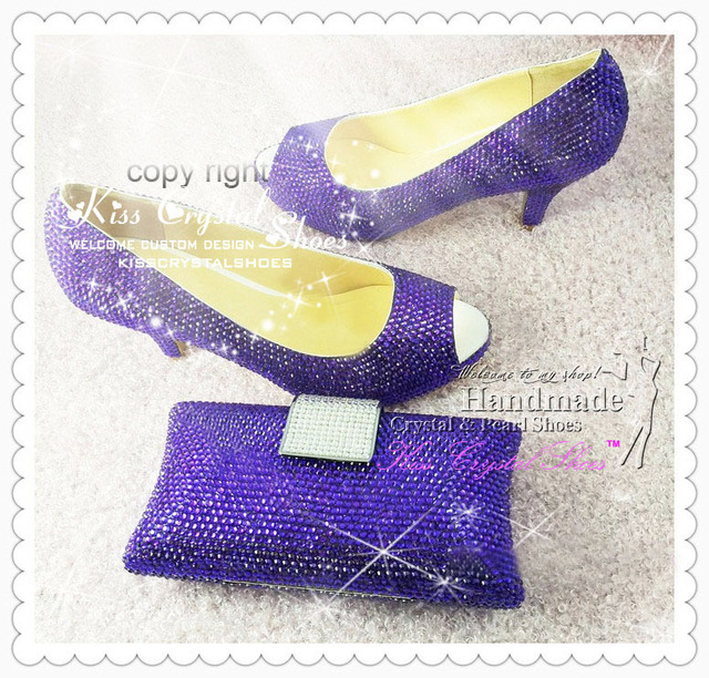 low heel Wedding Shoes Purple Bridal Shoes handmade rhinestone ...