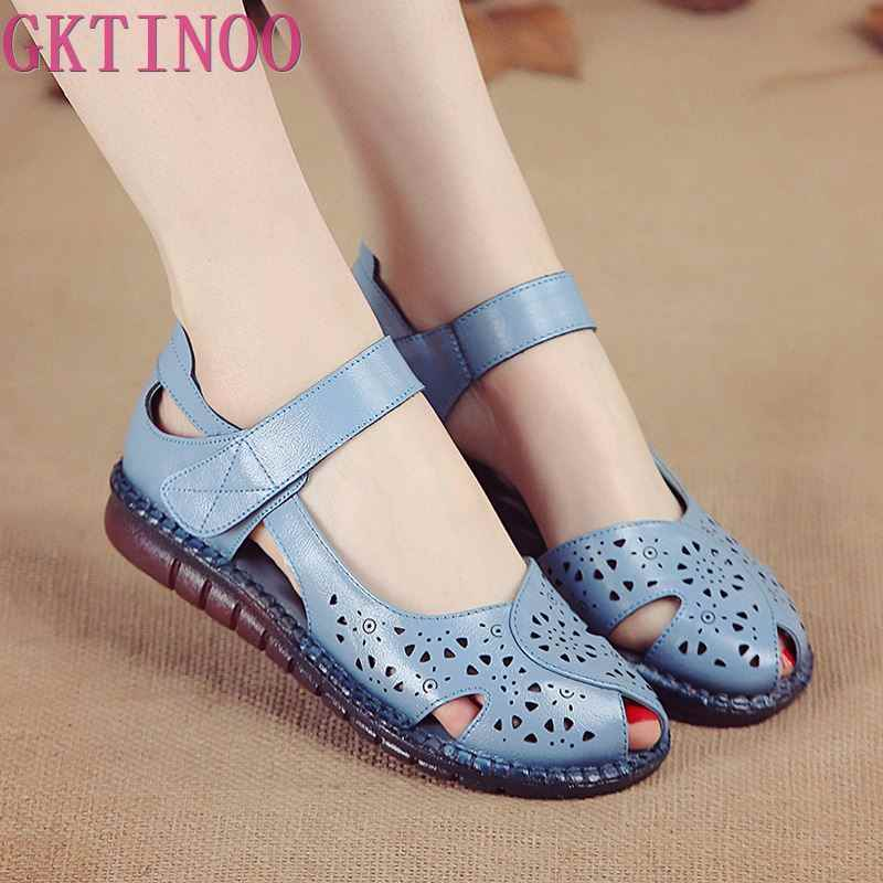 GKTINOO Summer New Handmade Women's Shoes National Style Genuine Leather Hollow Women's Sandals soft Flat with Sandals
