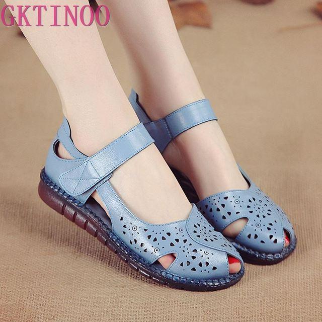 GKTINOO letnie nowe ręcznie robione buty damskie w stylu narodowym oryginalne skórzane sandały damskie Hollow miękkie płaskie z sandałami