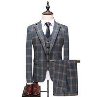 2018 Men's single breasted business wedding Suit Full dress Man fashion Classic Plaid Classic suits (Jacket+Vest+Pants)