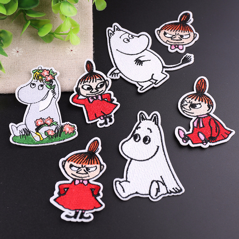 7pcs/lot Cartoon Girl Patches Funny Stickers DIY Handmade Appliqued Patchworks Garment Bags Shoes Jeans Coat Decorative Badge