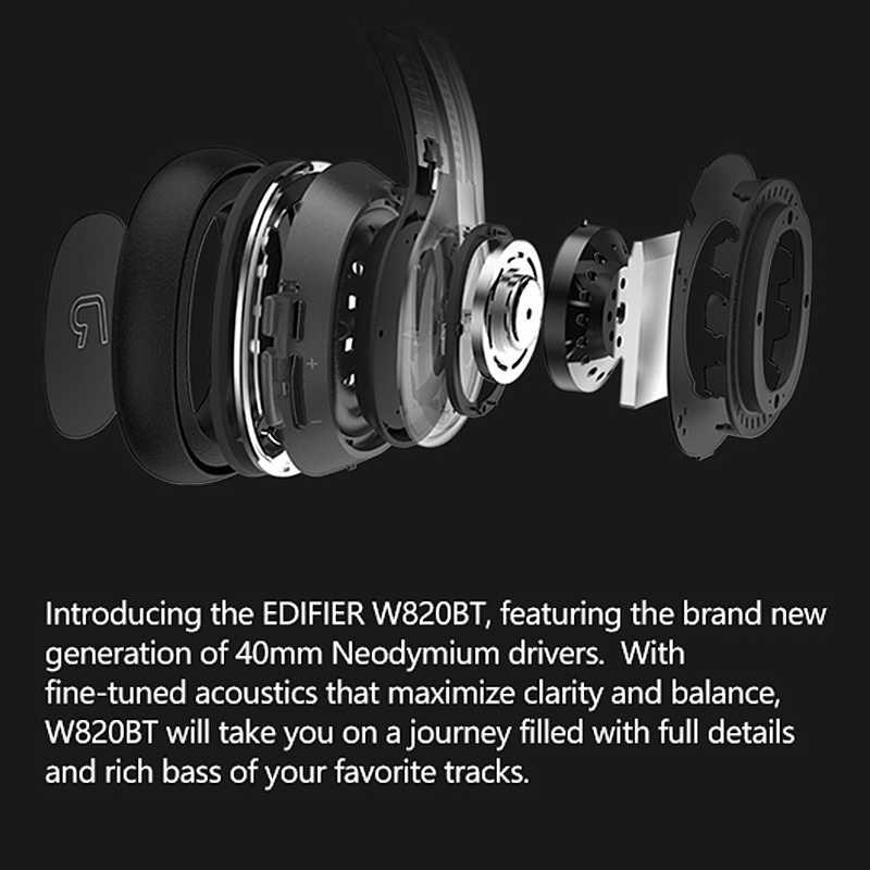 EDIFIER W820BT słuchawki Bluetooth CSR technologia składana konstrukcja bezprzewodowe słuchawki podwójne baterie do 80 godzin czas odtwarzania