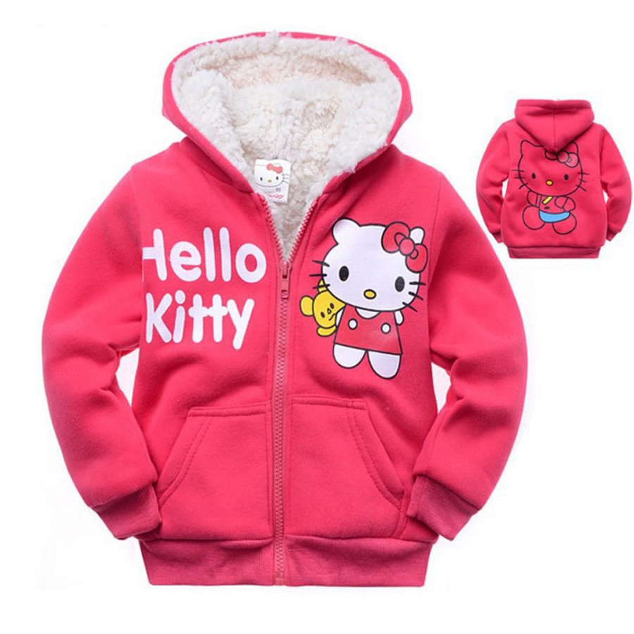 New Arrived Winter Warm Hoodies Children Kinder Kleidung Girls Hoodies Sweatshirt Hello Kitty Cat Thickened Jacket Coat 082403
