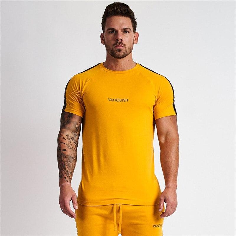 2019 Neue Männer T-shirt Kurzen Ärmeln Druck Vq Männlichen Solide Baumwolle Herren T Sommer Fitness-studios Fitness Bodybuilding Kleidung
