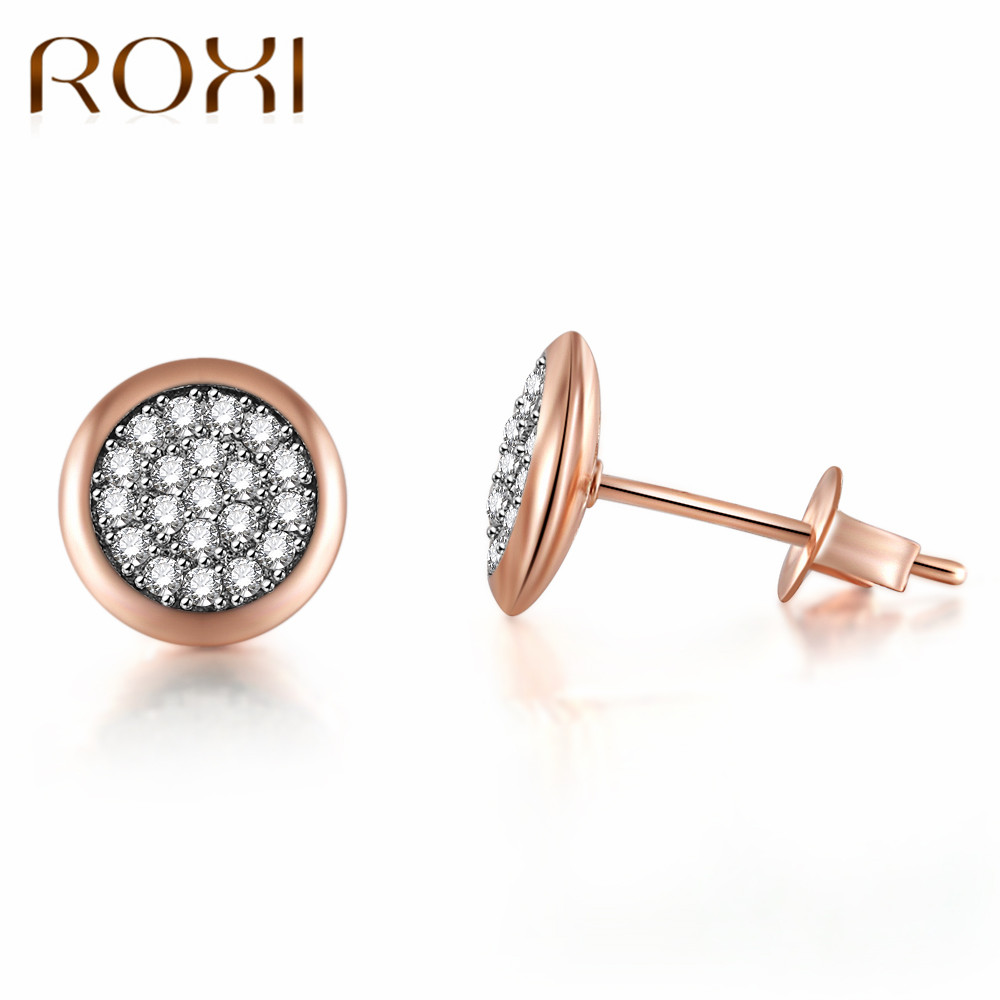 ROXI White Gold Rose Gold Micro Round CZ Crystal Stud Earrings For Women Jewelry Fashion Boucle D'oreille Femme Accessories