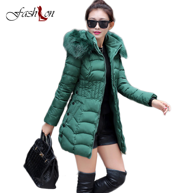 2017 Womens Winter Jackets and Coats Thick Warm Fur Collar Hooded Cotton Padded Parkas for Women's Winter Jackets Manteau Femme womens winter jackets and coats 2016 thick warm hooded down cotton padded parkas for women s winter jacket female manteau femme