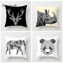 Fuwatacchi Simple Animal Style Cushion Cover Panda Horse Deer Elephant Printed Pillow Decorative Pillows For Sofa Car