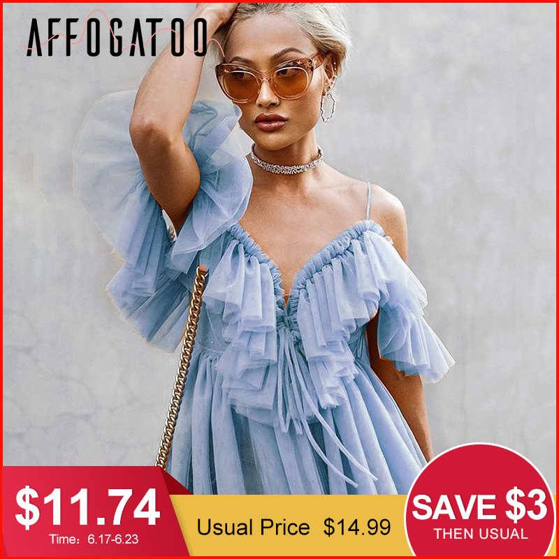 Affogatoo Elegant ruffle strap mesh summer   blouse     shirt   women Sexy V neck off shoulder holiday   blouse   top Streetwear peplum tops