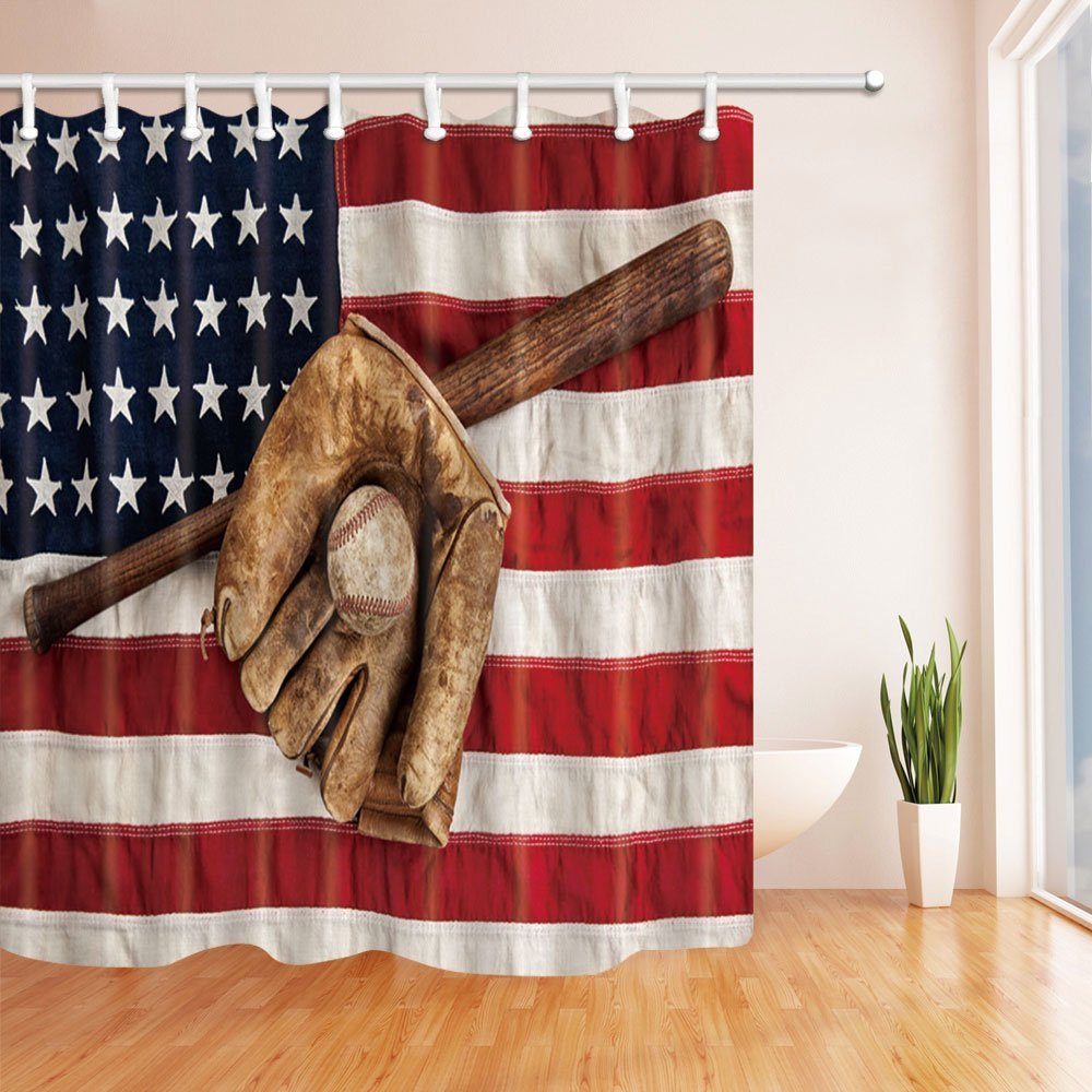 Usa Shower Curtain Us 16 81 37 Off Sports Decor Vintage Baseball Bat With Usa American Flag Fielding Shower Curtain Waterproof Polyester Fabric Bath Curtain In Shower