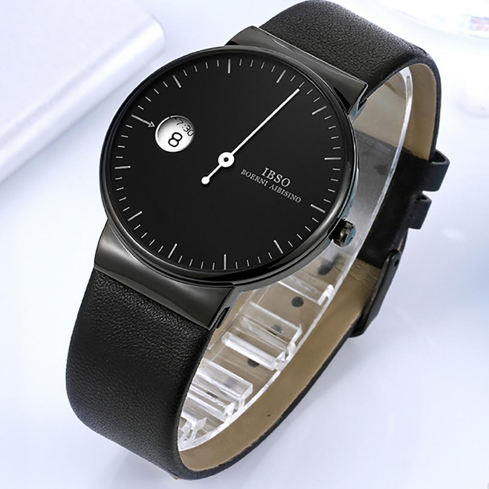 IBSO Creative One Hand Black Watch Men Simple Quartz Watch Genuine Leather Strap Fashion Watch 2019 Relogio Masculino 8289