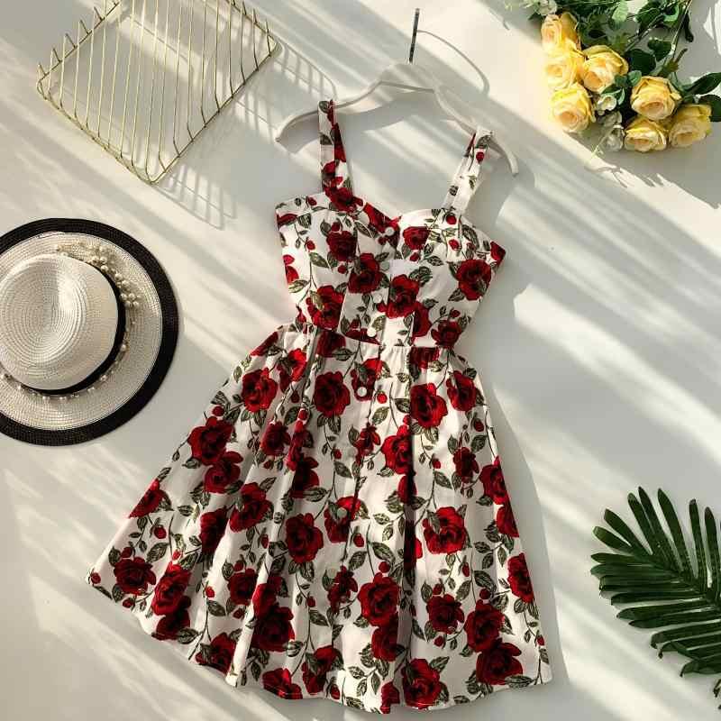 Bohemian Button Sexy Vintage Summer Floral Print Spaghetti Strap Dress Mini Short Party Women Casual Beach High Waist Vestidos