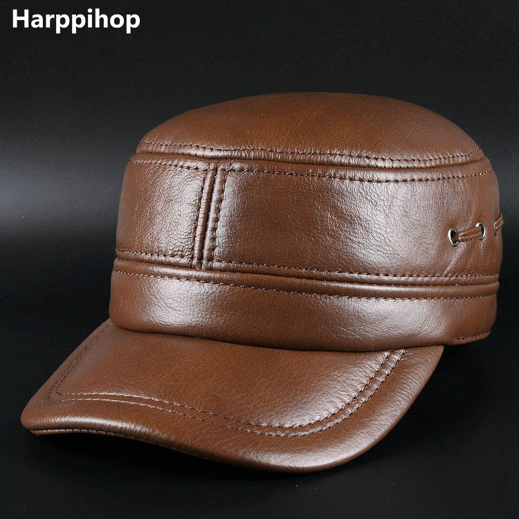 Harppihop genuine leather men baseball cap hat high quality men's real cow skin leather adult solid army hats caps 35colors silver gold soild india scarf cap warmer ear caps yoga hedging headwrap men and women beanies multicolor fold hat 1pc
