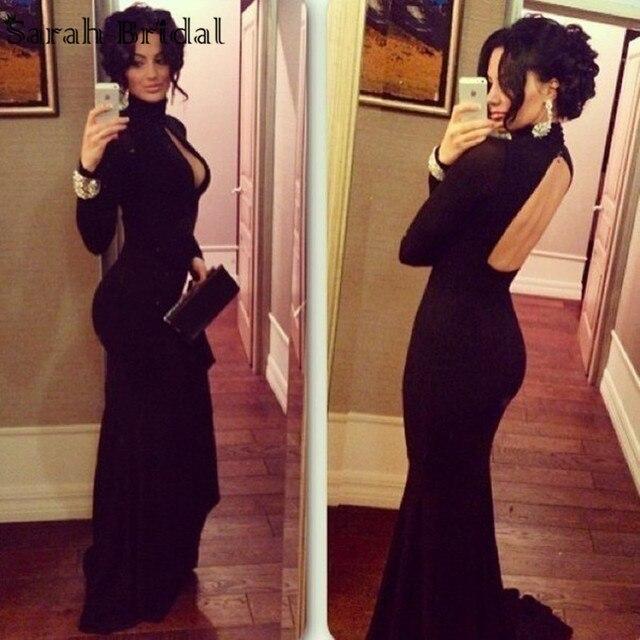High neck black evening dress
