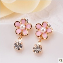 pink flowers rhonestone  non pierced earrings painless ear clip brincos