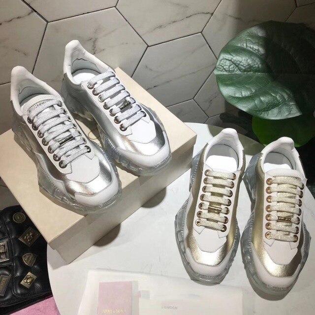 Beyaz ayakkabı Kadın Platformu Sneaker zapatillas mujer Bahar chaussures femme Gümüş Bayanlar ayakkabı Temizle Kristal Taban Ceoss bağlı