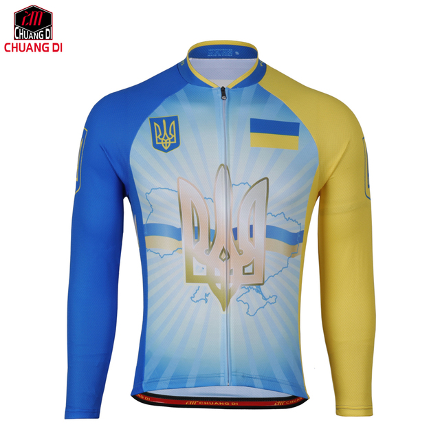 76b7720c5eb Quick Dry Breathable Ukraine Cycling Jersey Long Sleeve Summer Spring Men s  Shirt Bicycle Wear Racing Tops Cycling Clothings