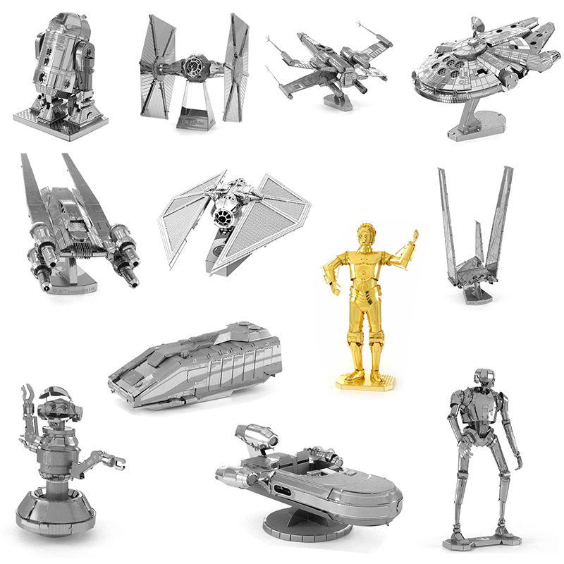 18 styles Star Wars 3D Metal assembling model Toys DIY Spaceship  starwars Action Figure Toys for Children's gift C3PO