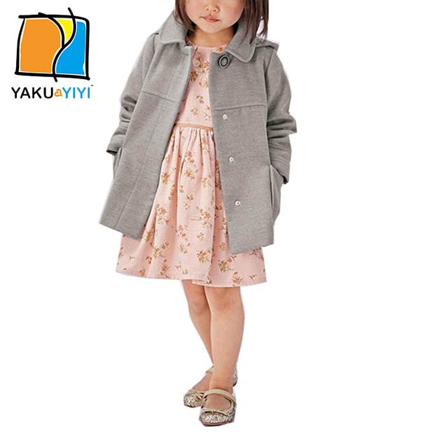 YKYY YAKUYIYI New Spring Solid Grey Girls Hooded Wool Coat Long Sleeve Double Pockets Buttons Girl Children Clothing