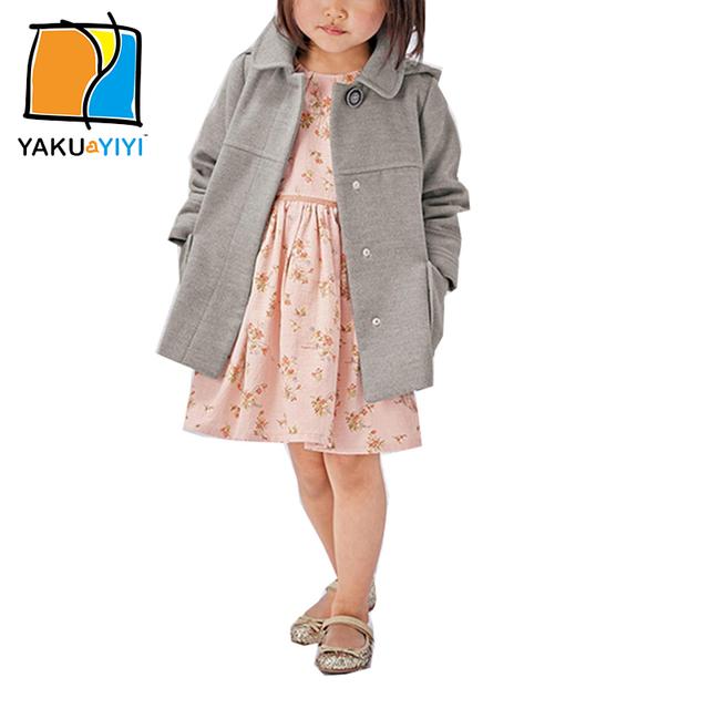 Ykyy yakuyiyi nueva primavera sólido gris niñas abrigo de lana con capucha de manga larga doble bolsillos botones chica ropa para niños