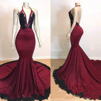 2019 Modest Halter Backless Mermaid Prom Dresses Pageant Sleeveless African Lace Applique Evening Vestido de noche prom dress
