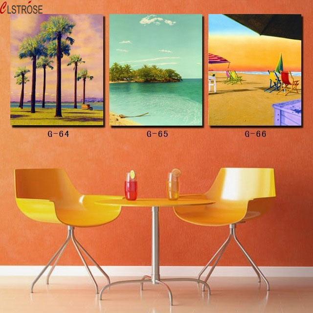 3 piece canvas wall art Beach and palm tree painting Canvas painting for dining room Dinning room set