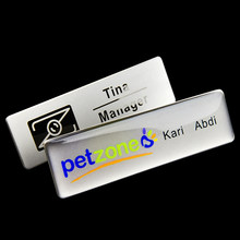 1pc custom magnetic staff name tag badge holder personalized 7*2cm metal nameplate(China)