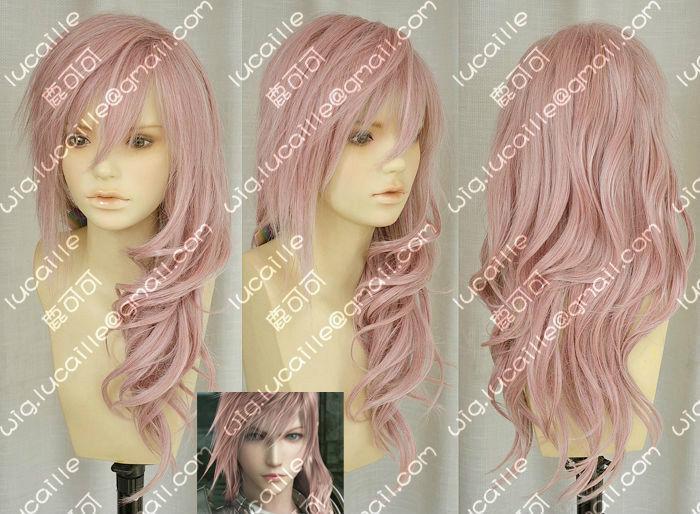 Bellissimo Nuovo Final Fantasy 13 Fulmine Serah New Long Mix Rosa Cosplay Parrucca Di Capelli Altamente Lucido