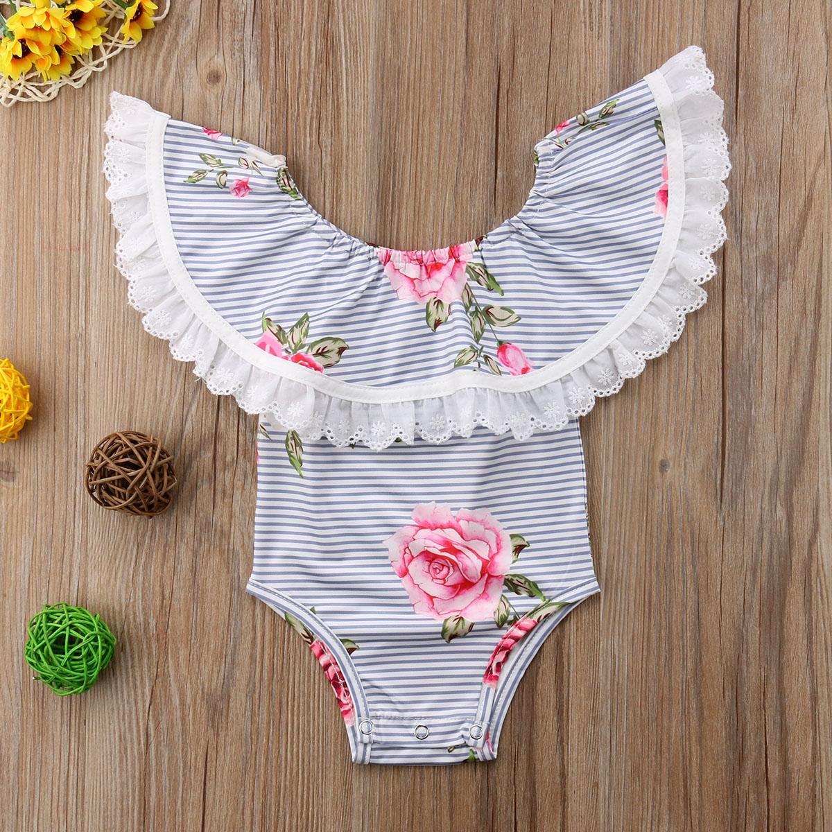 Newborn Infant Toddle Baby Girls Floral Lace Striped Jumpsuit Bodysuit Sunsuit Playsuit Cotton Clothes Summer Baby Girl 0-24M