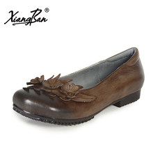 Xiangban spring women flats original vintage flowers female flat shoes genuine leather square toe shallow mouth