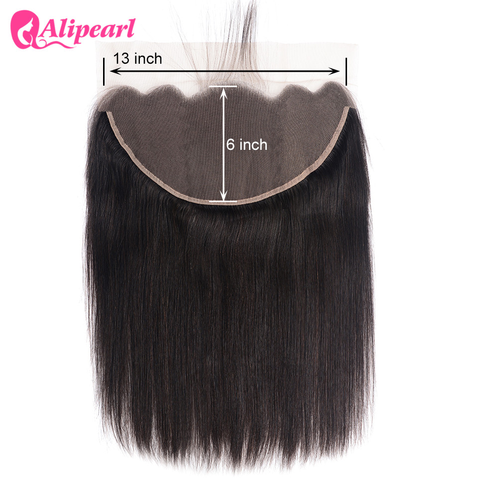 AliPearl Hair Brazilian Straight 13X6 Lace Frontal With Baby Hair Free Part Human Hair Color 1b Remy Hair Free Shipping
