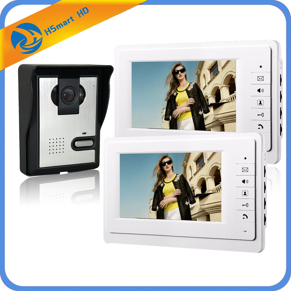 Wired 7 Video Door Phone Intercom Doorbell Entry System 2 Monitors Villa House Waterproof Camera + In Stock FREE SHIPPING brand new wired 7 inch color video door phone intercom doorbell system 1 monitor 1 waterproof outdoor camera in stock free ship