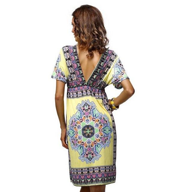 2017 women summer dress short sleeve silk soft deep V-neck print vestidos  high waist beach bohemian loose dresses