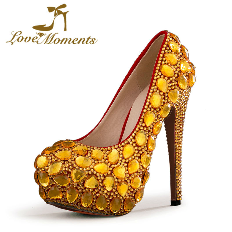 Love Moments Factory Seller Gold Rhinestone Wedding Dress Shoes Women Pumps Luxurious Prom Ceremony High Heels Bride Shoes 03 red gold bride wedding hair tiaras ancient chinese empress hat bride hair piece
