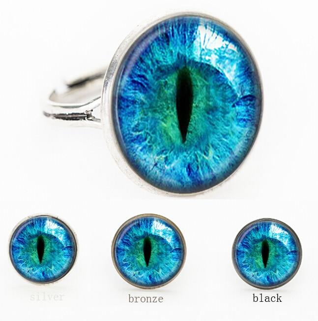 Suteyi Blue Dragon Eye Photo Glass Cat Eye Ring Gift For