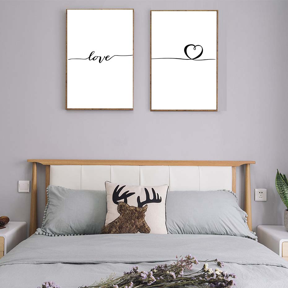 Nordic Poster Heart Picture Black White Canvas Prints Love Poster Wall Art Canvas Painting Heart Posters And Prints (4)