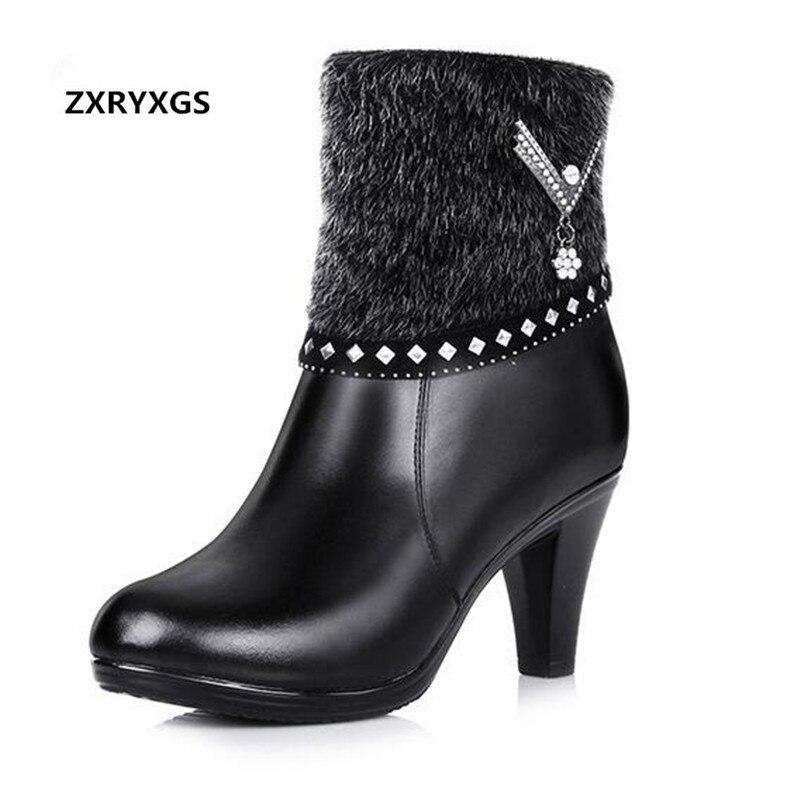 Благородные элегантные модная обувь теплая шерсть зимние сапоги Для женщин сапоги 2019 новые зимние натуральная женская кожаная обувь зимни...