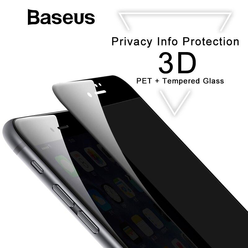 Baseus 3D Protector de pantalla para iPhone 7 7 más Anti Spy Privacy vidrio Protector para el iPhone 8 8 templado vidrio Filme