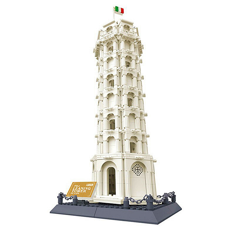 Architecture Leaning Tower of Pisa Building Block Structure Building Blocks Kids Educational Toy Block Gift Toys For Children