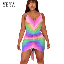 YEYA Vintage Rainbow Print Mini Dress Women Sleeveless Lace-up Pleated Short Sexy V-neck Spaghetti Strap Party Retro Wear